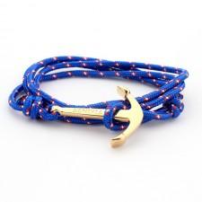 Náramok modrý zlatá kotva