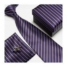 Kravatový set so vzorom fialovo-pásikavý