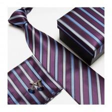 Kravatový set s pásikmi modro-fialový