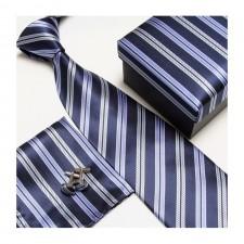 Kravatový set so vzorom modro-pásikavý