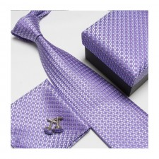 Kravatový set so vzorom fialový