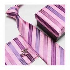 Kravatový set so vzorom ružovo-fialový