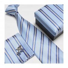 Kravatový set so vzorom bledo-modrý