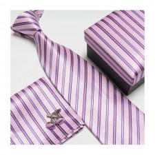 Kravatový set so vzorom ružovo-pásikový