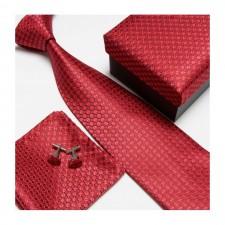 Kravatový set so vzorom červený guličkový
